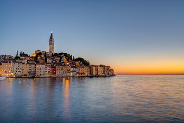View of the old town of Rovinj in Croatia after sunset