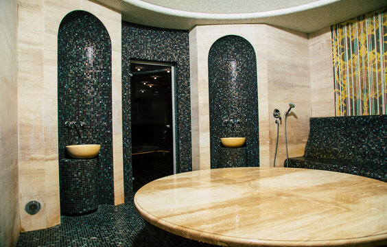 Luxury interior of a Turkish bath or sauna. Classic Turkish hammam
