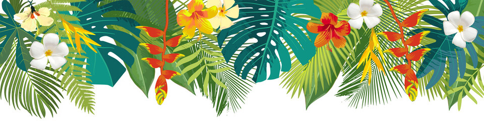 Fototapeta Tropical leaves and flowers border. Summer floral decoration. Horizontal summertime banner. Bright jungle background. Bright colors. Caribean beach party backdrop obraz