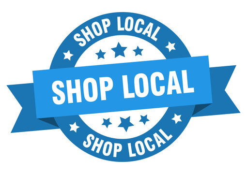 shop local round ribbon isolated label. shop local sign