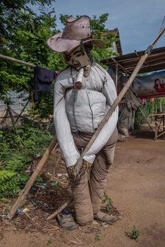 Anti Covid 19 scarecrows in countryside of Cambodia, many people believe that will keep bad spirit away from their home