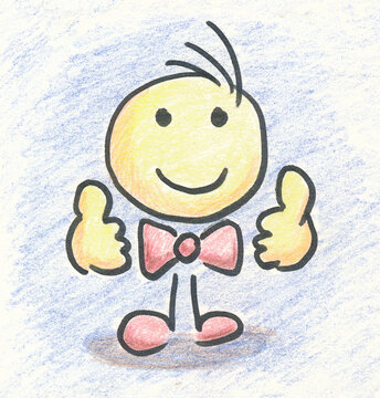 Manikin_smiling_thumbs up_colored pencil_drawn
