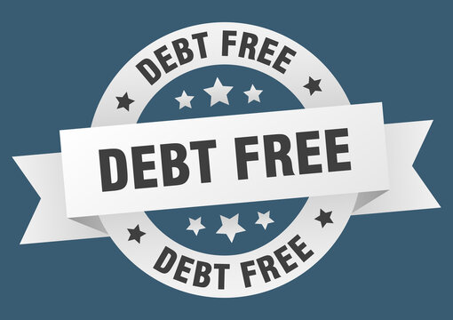 debt free round ribbon isolated label. debt free sign