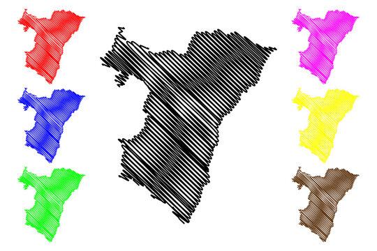 Bas-Rhin Department (France, French Republic, Grand Est region) map vector illustration, scribble sketch Bas Rhin map