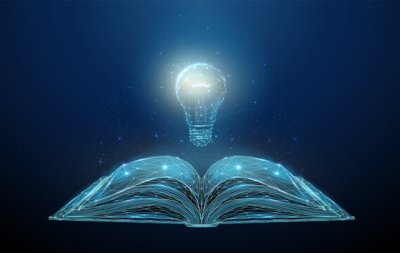 Abstract low poly open book with light bulb