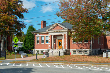 Ashland Public Library on Front Street in historic town center of Ashland, Massachusetts MA, USA.