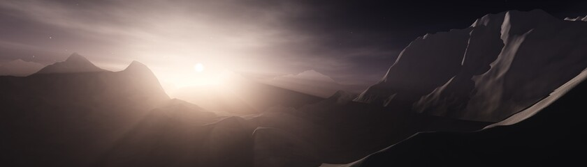 Sunrise in the mountains, mountain landscape at sunset, light among snowy peaks, 3D rendering