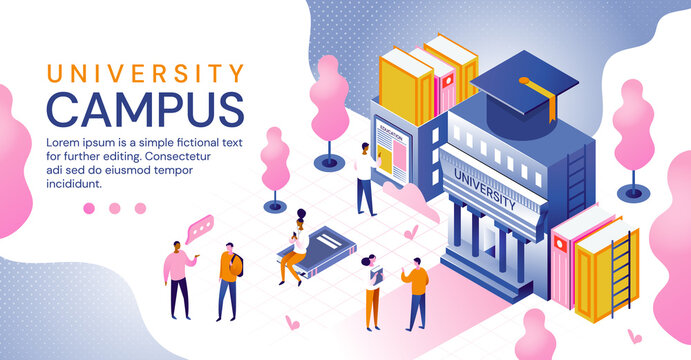 University campus in an education and higher learning concept with building, books, students and mortar board hat for graduation, colored vector illustration. Website template