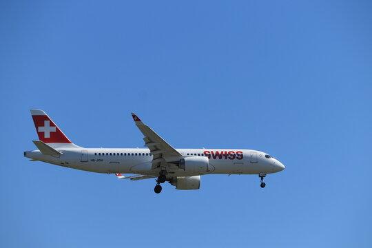 Amsterdam, the Netherlands - August, 7th 2020: HB-JCM Swiss Bombardier CS300