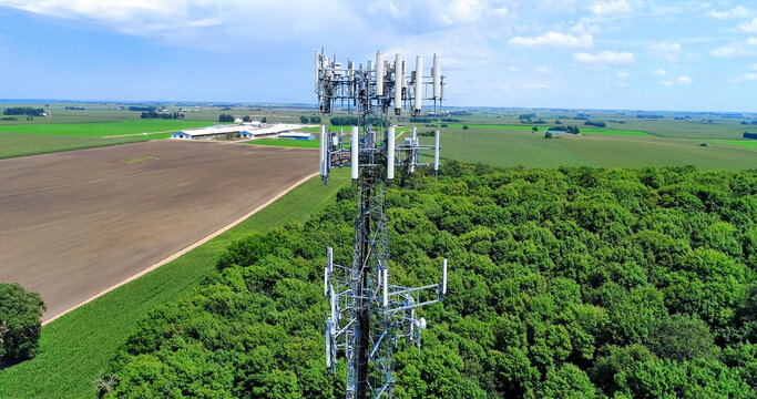 5G Cell Tower - Aerial Image.