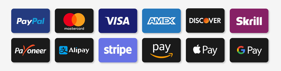 PARIS, FRANCE – AUGUST 09, 2020 : Online payment methods badge collection, brand logo : Paypal, Visa, Mastercard, American Express, Apple Pay, Payoneer… Isolated web payment symbols. Vector stock.