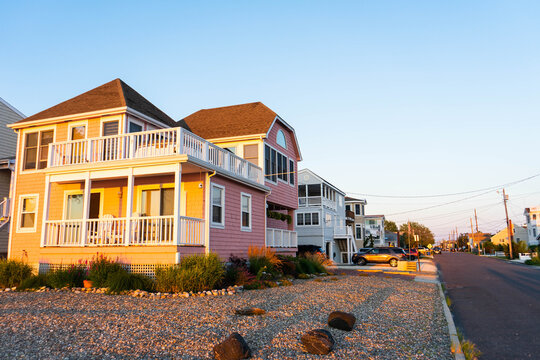Beach houses at sunset on the popular vacation destination of Long Beach Island.