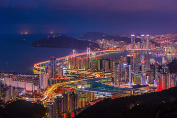 Fotobehang Las Vegas South Korea landscapes. at Busan City and Downtown skyline in Busan , South Korea.South Korea cityscapes