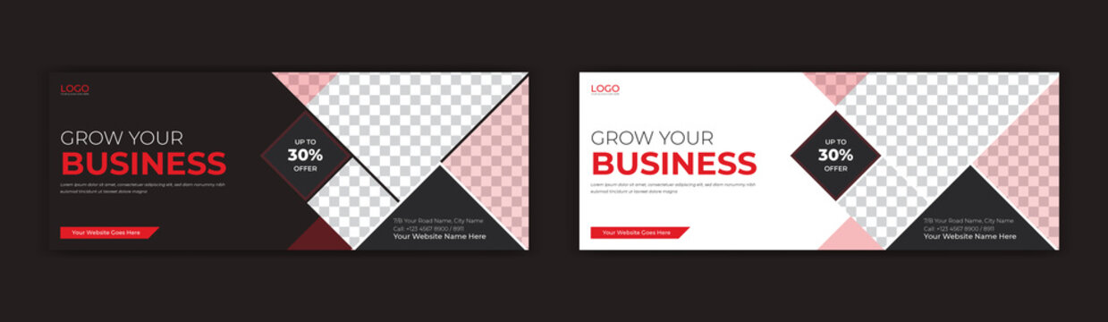 Mosaic style Corporate business social media post facebook cover page timeline online web banner template design