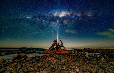 Ship wreck at kitty miller bay with milkyway rise