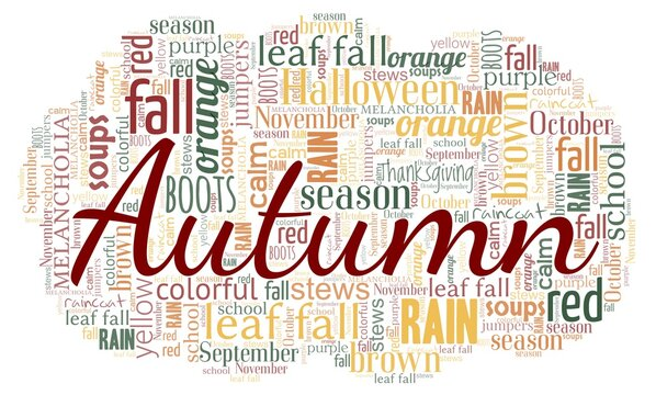 Autumn season word cloud isolated on a white background