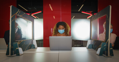 new normal of business people wearing face mask with social distancing