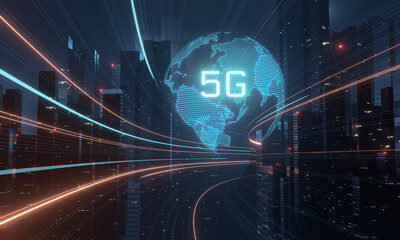 3D Rendering of 5G text glowing over hologram globe and mega city background. Concept of high speed next generation network. Telecom technology innovation