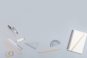 Back to School background with place for text. Collection of school supplies in a bright flat style. Educational concept. Copy space, mockup, overhead, template.