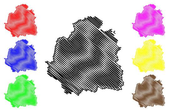 Indre Department (France, French Republic, Centre-Val de Loire region) map vector illustration, scribble sketch Indre map