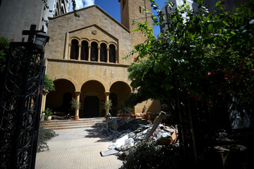 View of damaged churches following Tuesday's blast in Beirut