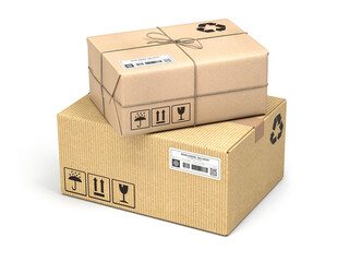Cardboard boxes of different types and sizes isolated on white background. Delivery and mail parcel concept.