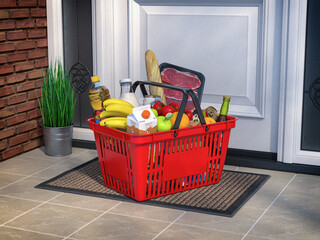 Food and eats online buying and delivery concept. Shopping basket with grocery in front of door.