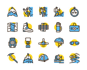 Fototapeta Vector color linear icon set of climbing, hiking