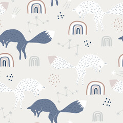 Seamless childish pattern with jumping foxes and rainbows. Creative kids city texture for fabric, wrapping, textile, wallpaper, apparel. Vector illustration