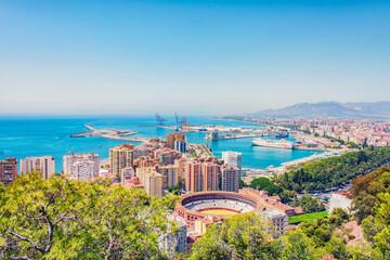 Fototapete - Panorama of Malaga city in Andalusia, Spain