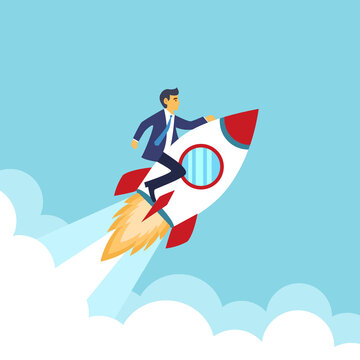 Businessman riding on rocket flying to the sky. Company mission for successful business. Startup concept in flat design.