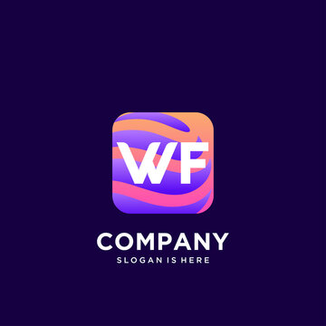 WF initial logo With Colorful template vector.
