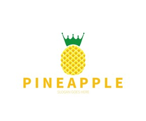 Pineapple Fruit with Crown Logo Concept. Vector Design Illustration. Symbol and Icon Vector Template.