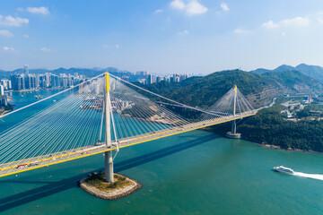 Wall Mural - Drone fly over Hong Kong city
