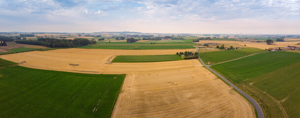 Aerial panorama view on Celles and Kluisbergen area in Belgium
