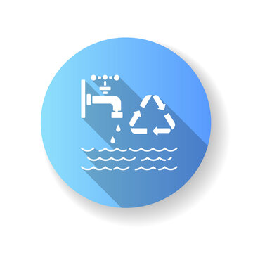 Reducing water use blue flat design long shadow glyph icon. Zero waste lifestyle advice, resources economy. Responsible consumption. Water reuse and recycling. Silhouette RGB color illustration