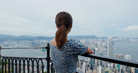 Wall Mural - Woman visit Hong Kong landmark