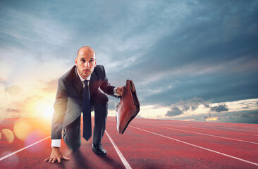 Businessman acts like a runner. Competition and challenge in business concept.