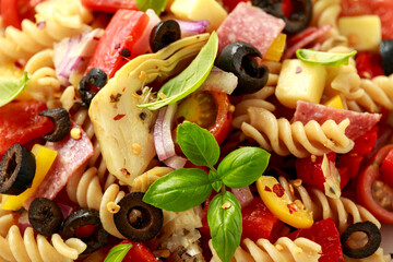 Antipasto salad with pasta, tomato, olives, red onion, bell pepper, salami, cheese, artichoke and basil.