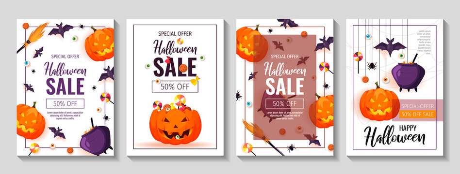 Happy Halloween promo sale flyers with Halloween elements. Scary pumpkins, cauldron, broom, flying bats, spiders, candies. Vector illustration for poster, banner, discount, special offer.