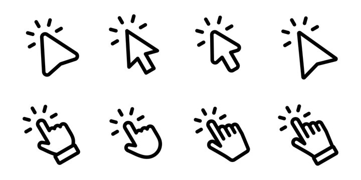 Set of Hand pointer symbol in trendy flat style. Computer mouse click cursor. Click cursor collection. Clicking finger. Hand pointer icon. Cursor