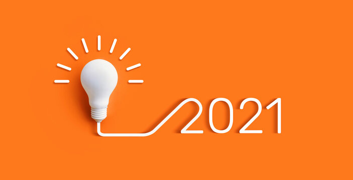 2021 Creativity and inspiration ideas concepts with lightbulb on pastel color background.