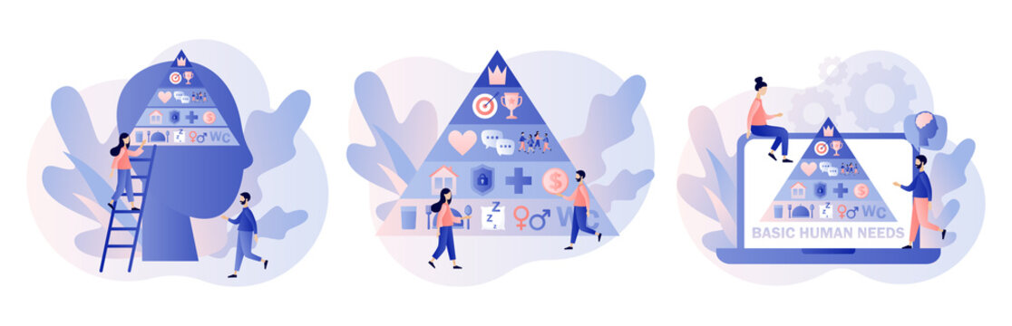 Basic human needs. Maslow hierarchy pyramid.Tiny people and triangle pyramid with physiological, safety, belonging love social esteem and self actualization levels structure scheme.Vector illustration