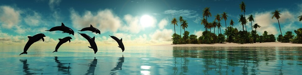 Dolphins are jumping near a tropical island with palm trees at sunset, 3D rendering