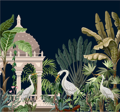 Border with ancient arbor and herons in the jungle. Vector.
