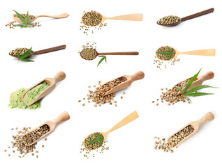 Collage with hemp seeds on white background