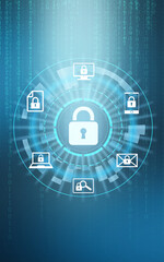 Cyber security concept. Scheme with padlock illustration and binary code on background - fototapety na wymiar