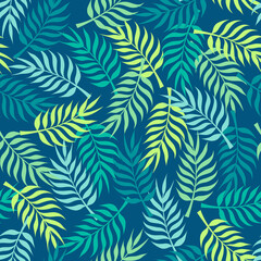 Tropical pattern with green palm tree leaves on navy blue background. Great for wallpaper, backgrounds, invitations, packaging, design projects, textile scrapbooking