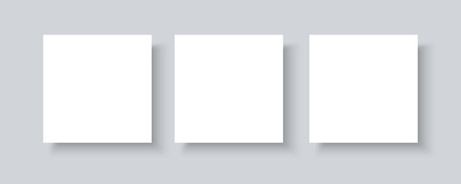 Social media mockup blank banner with shadow isolated on gray background. Realistic vector mock up of square paper pieces for designer portfolio presentation