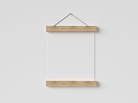 Small Poster Hanger 3D render Mockup